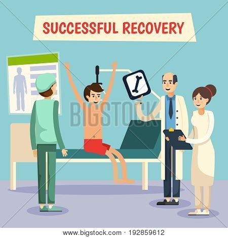 Hospital ward successful recovery scene with doctor assistent nurse and patient poster flat comic orthogonal vector illustration