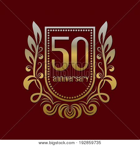 Fiftieth anniversary vintage logo symbol. Golden emblem with numbers on shield in wreath.