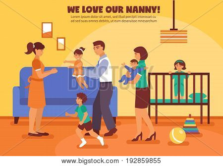 Babysitter mother father and children and toys in the room flat vector illustration