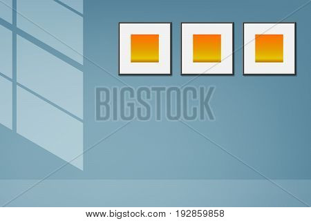 vector light and shadow illustration blue background, blue interior with three frame abstract background