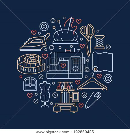 Sewing equipment, hand made supplies banner illustration. Vector line icon needlework accessories - sewing machine, fabric, pin, needle, thread, iron, hanger and other DIY tools. Tailor store template