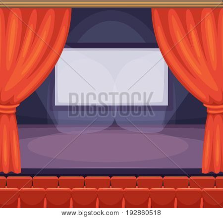 Theatre or cinema stage with red curtains. Vector background in cartoon style. Curtain on cinema stage or theater, illustration of red velvet decoration