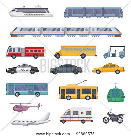 Different municipal transportation set. Vector illustrations of cars. Collection of transport ambulance and police, firetruck and taxi service car