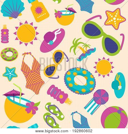 Summer vector seamless pattern with beach accessories. Beach. Summertime. Holiday. Vacation