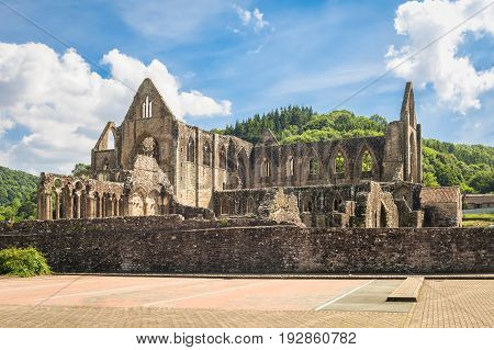 View of ruins of cistercian monastery Tintern in Wales on a sunny day.
