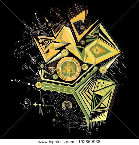 Vector Abstract composition consisting of geometric shapes triangles lines circles black background, isolated.