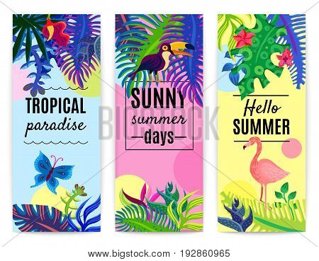 Tropical paradise summer vacation 3 vertical colorful background banners set with plants flowers toucan flamingo isolated vector illustration