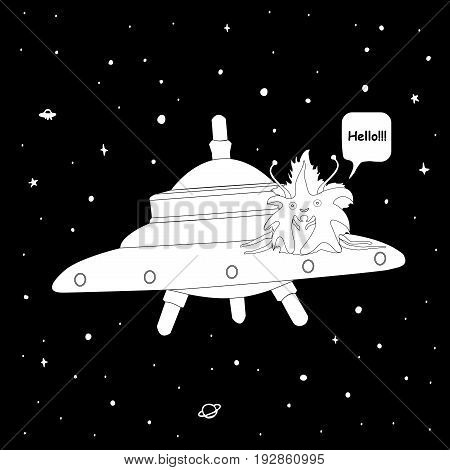 Vector black and white alien on a flying saucer against a background of space