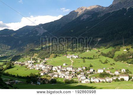 San Carlo, Switzerland - 22 April 2012: The village of San Carlo on Poschiavo valley Switzerland