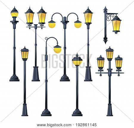 Vector illustration of old city lamps in cartoon style. Lamp street in vintage classic style