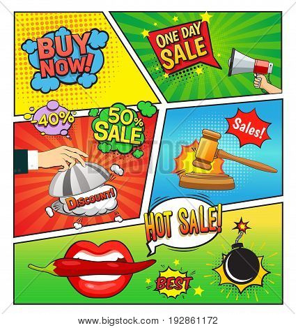 Hot sales comic book page with speech bubbles cloche gavel bomb on divided colorful background vector illustration