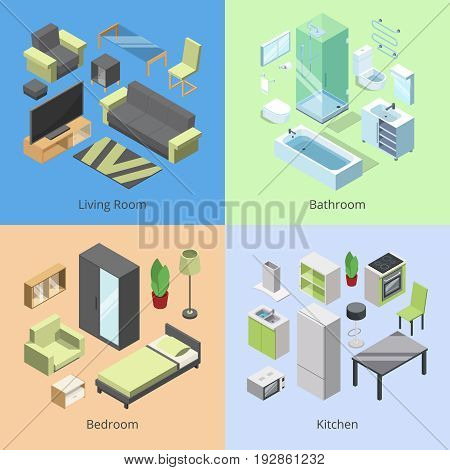 Set of different furniture elements for rooms in modern home. Vector isometric illustrations of kitchen, bedroom, living room, and bathroom. Living room interior isometric in home
