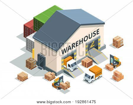 Warehouse building, trucks and load machines. Different pallets and boxes. Logistics vector illustrations, machine and storage warehouse