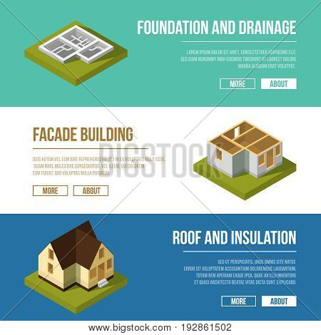 Industrial illustrations set with three banners of building construction stages. Vector isometric illustrations. Foundation and drainage banner, facade building, roof and insulation