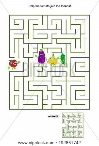 Maze game with cute vegetable characters: Help the tomato join the friends. Answers included.