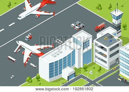 Airport, controls buildings of aircraft. Plane ramp and different support machines on runway. Isometric vector illustrations building airport and plane