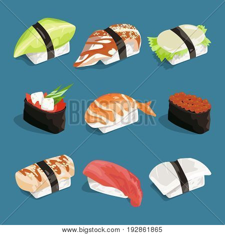 Vector illustration of japanese classical food. Rice, sushi and other. Set of japanese sushi food with rice and fresh fish