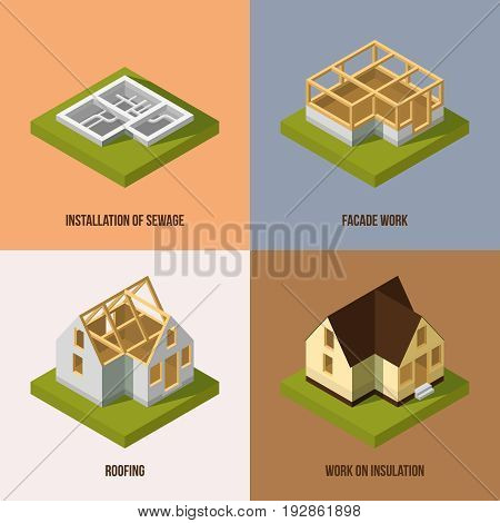 Different construction stages. Isometric vector pictures. Building construction and architecture, illustration of installation and sewage
