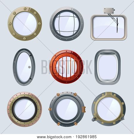 Different round ship and plane portholes. Vector illustration isolate on white. Window porthole for ship or plane