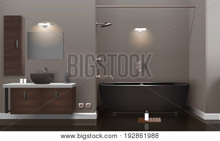 Realistic bathroom interior design with lighting, brown furniture, dark washbasin and tub, glossy floor 3d vector illustration