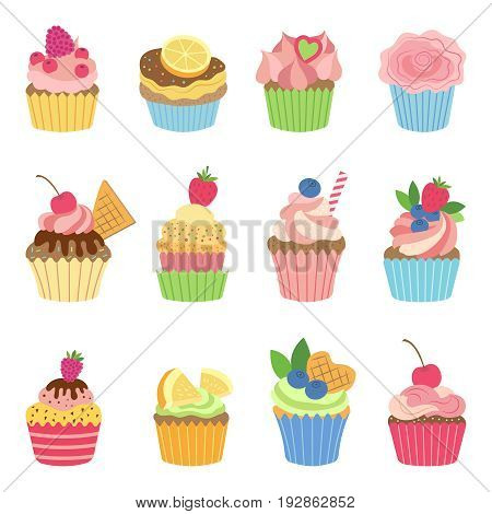 Vanilla muffins and cupcakes with chocolate. Vector illustration in flat style. Color muffin vanilla, cake dessert with sweet cream and fruits