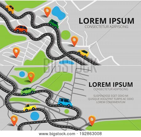 Vector illustration can used for web banner and info graphic. Top view city map with winding roads. Street Map with navigation icons. Navigation concept