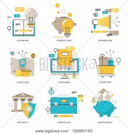 Infographics icons collection for e-learning, online shopping, delivery service, banking, marketing, promotion, financial security vector illustration. Line icons set. Flat design web graphic elements