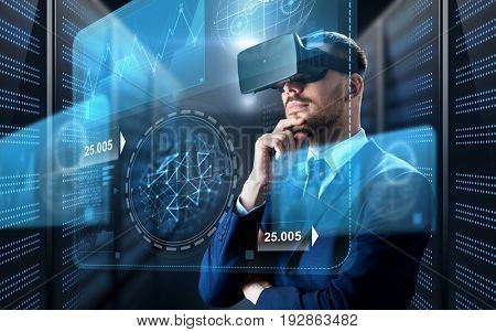business, people and technology concept - businessman in virtual reality headset with charts on screen projection over futuristic server room background