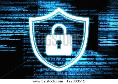 Closed lock against blue texts