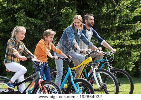 Happy Family Riding Bicycles While Spending Time Together In Summer Park