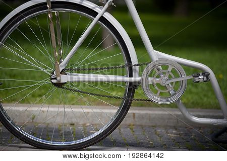 Closeup of retro bicycle on nature background. City bike. Active life and sport concept.