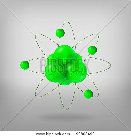 Abstract molecules. Atoms. 3d vector illustration protons neutrons and electrons. Science concept.