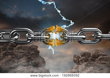 3d image of broken silver metal chain against blue and orange sky with clouds