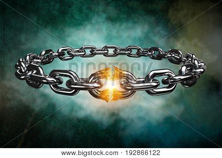 3d image of broken silver chain against dark background