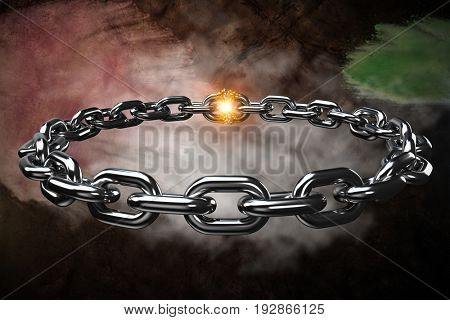 3d image of circular silver chain against dark background