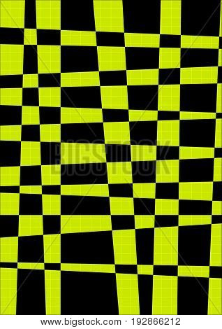 Geometric background with yellow and black cross strips. Vector strip background.
