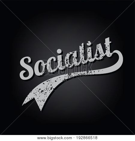 atheism socialist grungy retro varsity theme text vector art