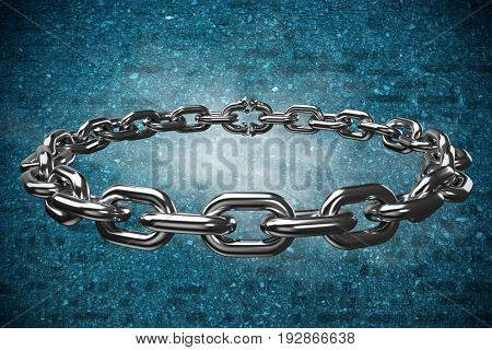 3d image of circular silver chain against bright wall with shadow effects