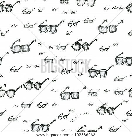 Different eyeglasses types seamless pattern, hand drawn doodle style vector. Black and white sketch illustration. Square, circle, star and heart glasses shapes.