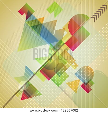 Abstract background with different geometric shapes. Vector illustration.