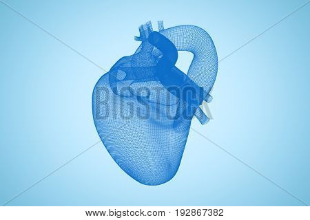 Vector image of blue 3d human heart against blue background