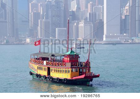 Vintage tour boat in Hong Kong