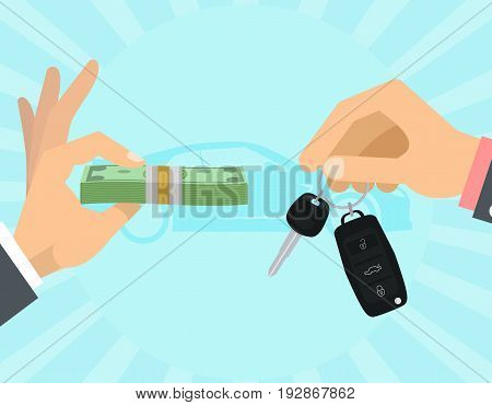 Car selling hands with keys and money
