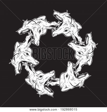 Vector hand drawn illustration of rabbit and big head of angry wolf. Hand sketched tatto artwork. Character design. Template for card poster print for t-shirt.