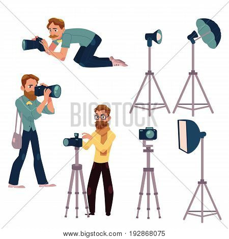 Set of photographers at work and professional equipment - camera, flash, light, reflector, tripod, cartoon vector illustration on white background. Professional photographers and photo equipment