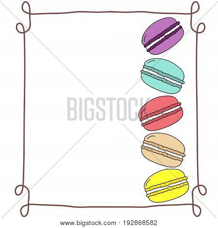 Variety of stacked multicolor doodle vector macaroons in hand drawn vintage frame copy space template mock up french pastry illustration