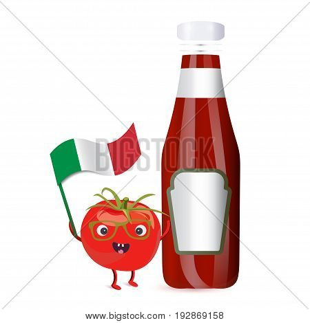 Vector illustration: Tomato Character and Tomato Sauce Bottle. Tomato mascot holding italian flag. Italian sauce advertising or promotion template.