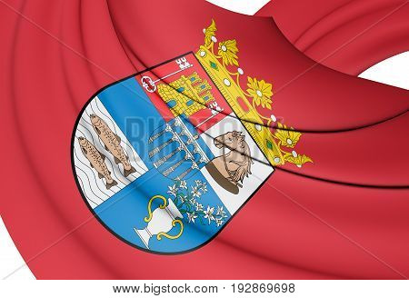 3D Flag Of Segovia Province, Spain.