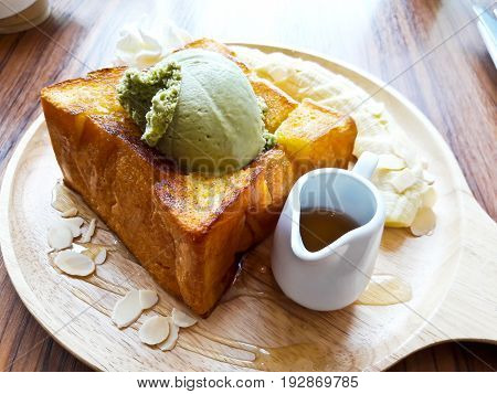 Honey toast with ice cream and fruit