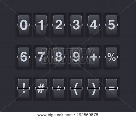 Set of numbers and symbols on a mechanical scoreboard. Vector template